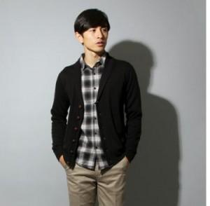 灰色のチェックシャツ,ショールカラーカーディガン