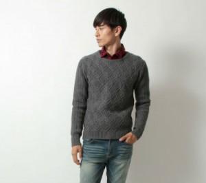セーター,チェックシャツ