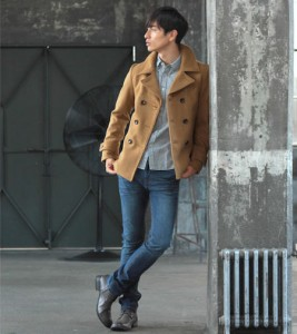 Pコート×シャツ メンズファッション