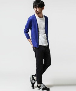 青のカーディガン メンズファッション