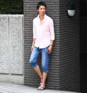 ピンクのリネンシャツ×岡山デニム