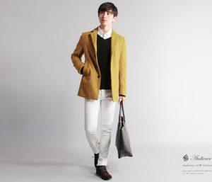 マスタード色のPコート 着こなし