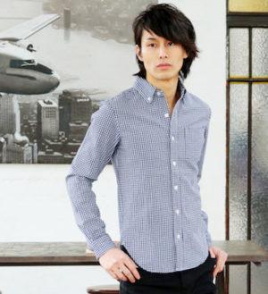 ギンガムチェックのシャツ メンズコーデ