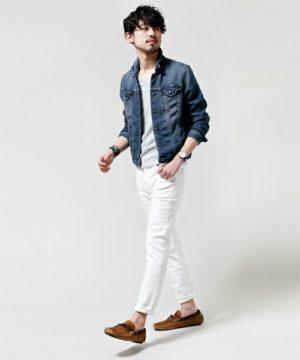 Gジャン×白パンツ