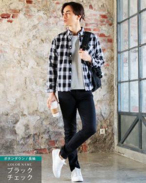 黒のチェックシャツ×黒のスキニーパンツ