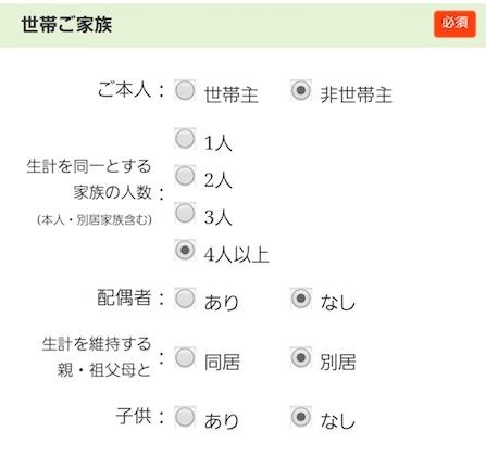 三井住友VISAクラシックカード 申し込み項目