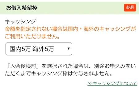 キャッシング枠  三井住友VISAクラシックカード