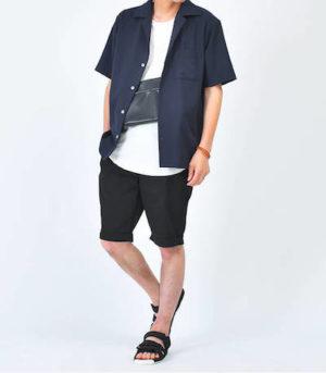 夏 オープンカラーシャツ メンズコーデ