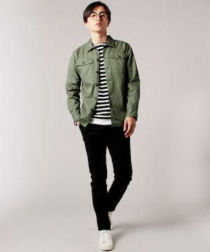 ミリタリージャケット ×ボーダーTシャツ