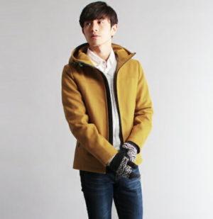 黄色のメルトンジャケット×シャツ