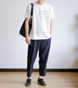 ボーダーTシャツ×アンクルパンツ
