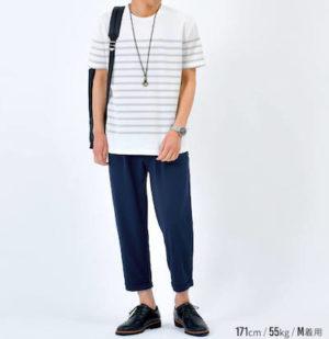 マリンボーダーTシャツ×アンクルパンツ