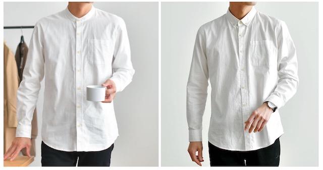 ボタンダウンシャツとバンドカラーシャツ
